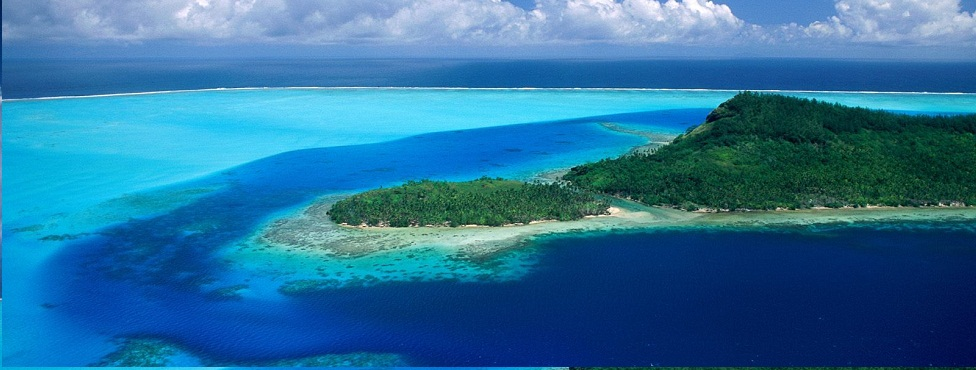 Aerial view of Pacific island with a lagoon